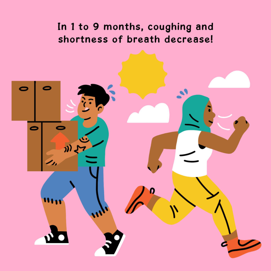 Illustration by Ry Macarayan of a person in a teal hijab running and another person carrying cardboard boxes. The title reads, In 1 to 9 months coughing and shortness of breath decrease