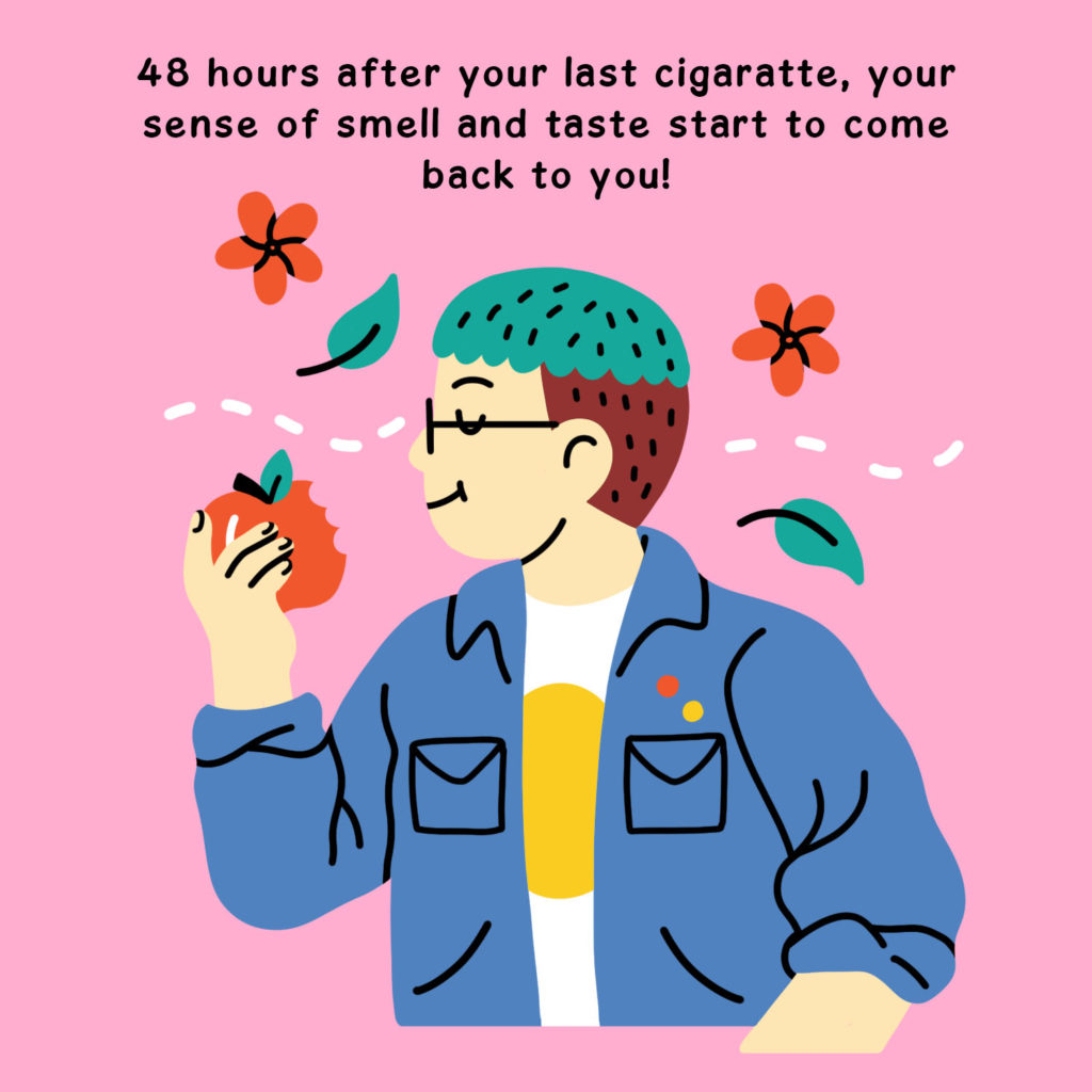 Illustration of a person in a jean jacket  with short teal and brown hair and glasses eating an apple and smelling some flowers that are blowing by.
