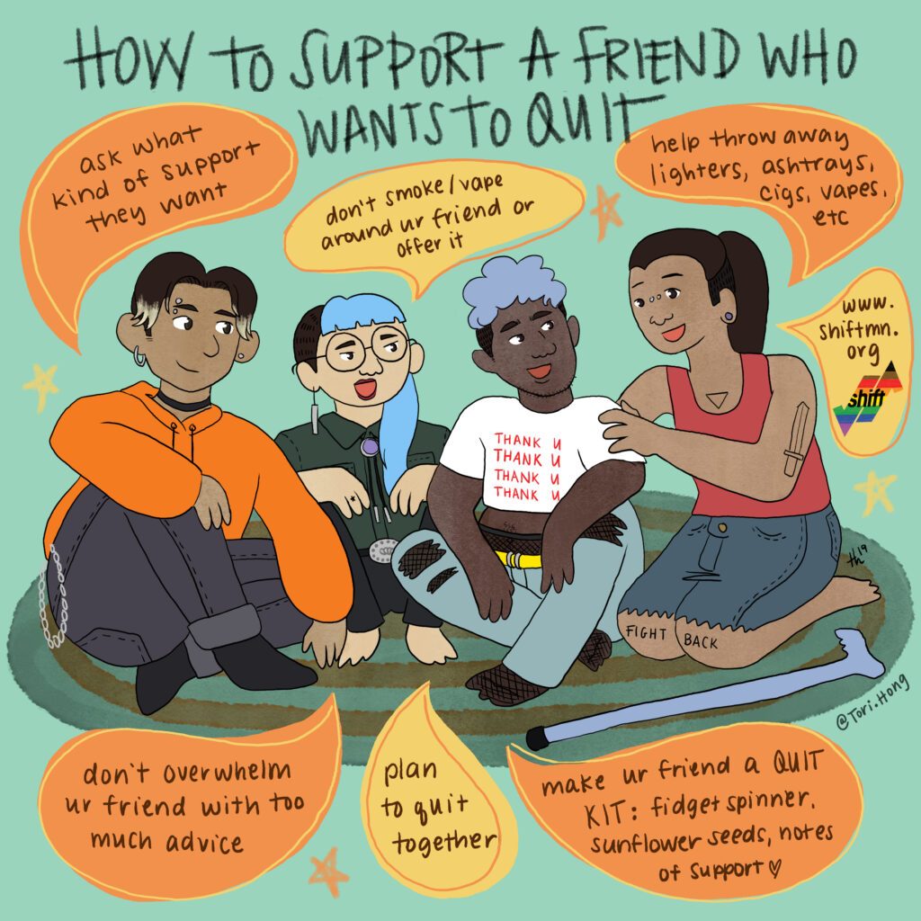 Illustration of a group of nonbinary, femme, and masculine folks talking about ways to help a friend quit.